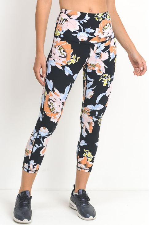 Tropical Flower Print Yoga Legging
