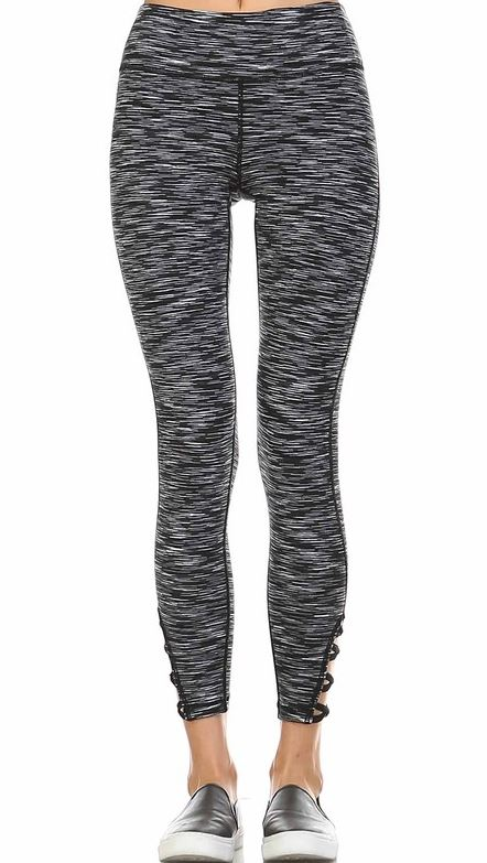 Multi Colored Charcoal/White Criss Cross Yoga Legging