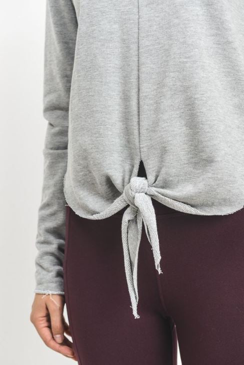 Grey Front Knot Sweat Top