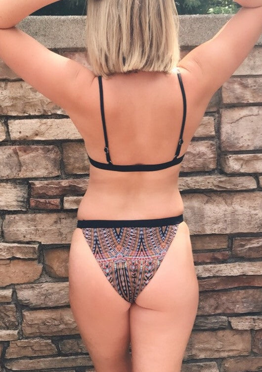 Black Print Banded Cheeky Bottom