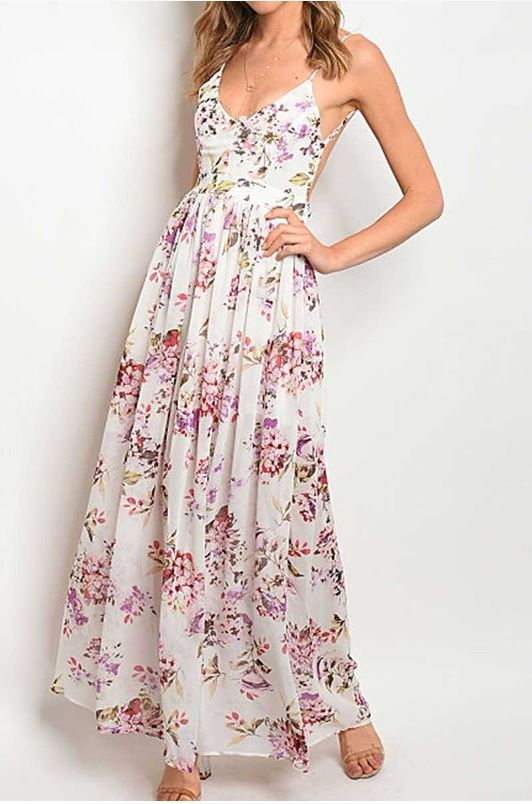 Cherry Blossom Floral Maxi Dress