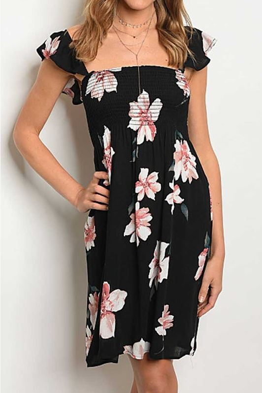 Hawaiian Nights Black Floral Dress
