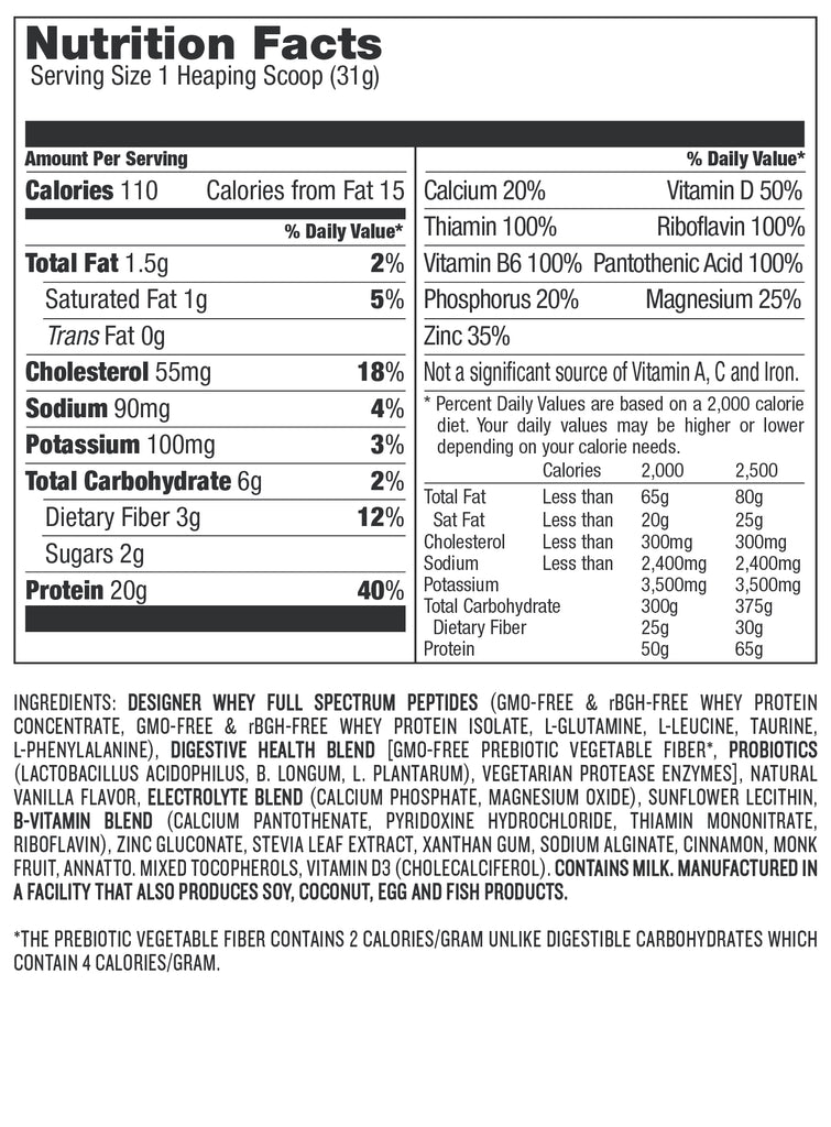 Designer Whey Protein, Chocolate Protein, Protein Bundles, French Vanilla Nutrition Facts, Protein Nutrition Facts