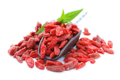 Pile of goji berries offering a superfood and complete protein that has energy boosting B1, B2, and B6 vitamins and antioxidants E and C