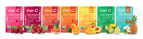Seven flavour's of Ener-C's vitamin C drink mix packets lined up