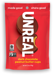 Unreal Dark Chocolate Peanut Butter Cups are certified vegan, certified non-gmo, and free from gluten, soy and dairy for a healthy treat