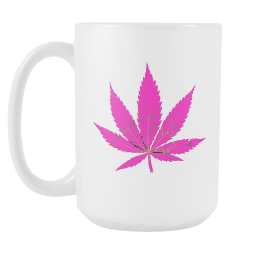 Purple Leaf White 15oz Coffee Mug