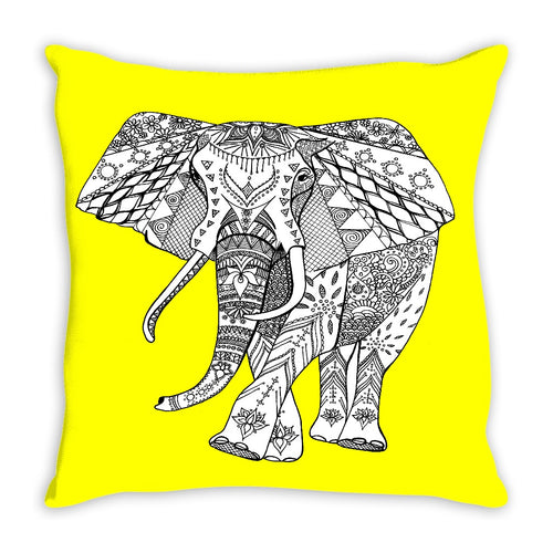 Lineart Elephant Throw Pillow