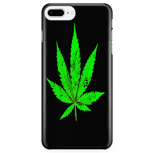Green Leaf Black Background Phone Case