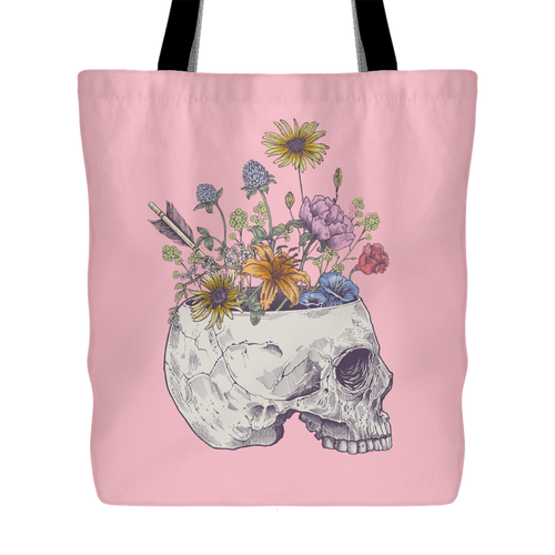 Half Skull Flowers Tote Bag