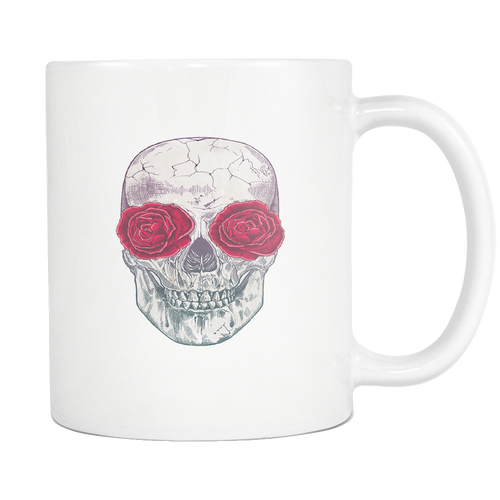Skull Roses White 11oz Coffee Mug