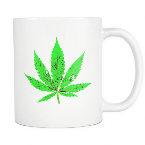 Green Leaf White 11oz Coffee Mug