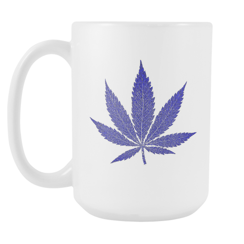 Blue Leaf White 15oz Coffee Mug