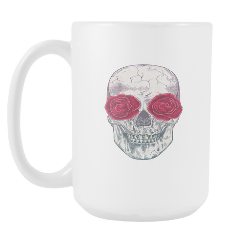 Skull Roses White 15oz Coffee Mug