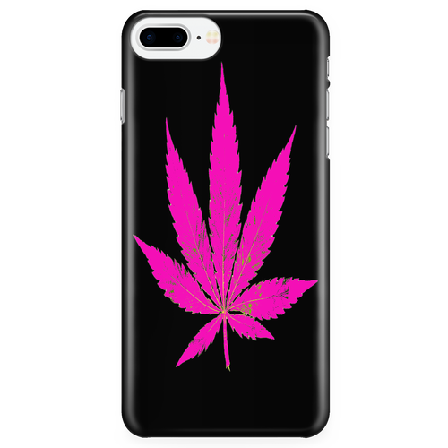 Purple Leaf Black Background Phone Case