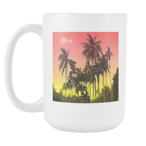 Sunset Palm White 15oz Coffee Mug