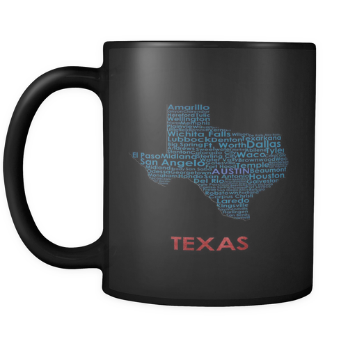 Texas Black 11oz Coffee Mug