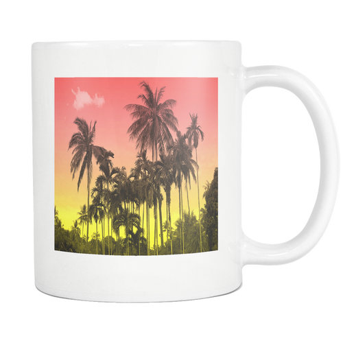 Sunset Palm White 11oz Coffee Mug