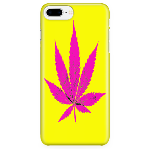 Purple Leaf Yellow Background Phone Case