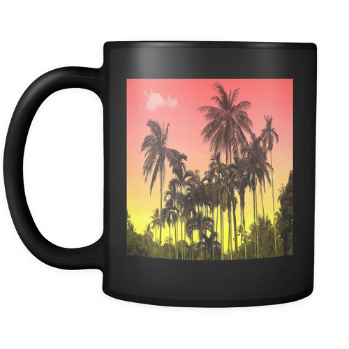 Sunset Palm Black 11oz Coffee Mug