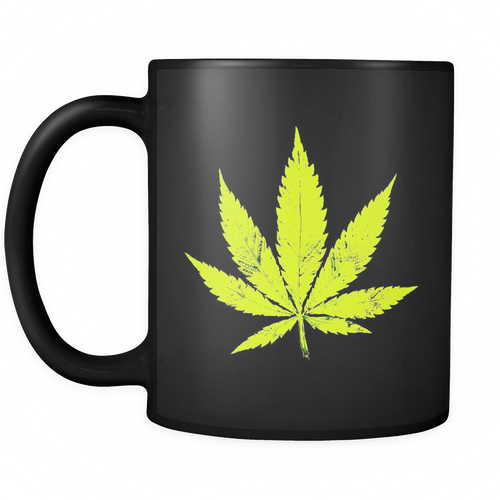 Yellow Leaf Black 11oz Coffee Mug