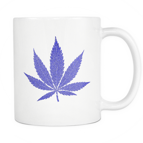 Blue Leaf White 11oz Coffee Mug