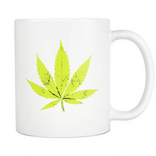 Yellow Leaf White 11oz Coffee Mug
