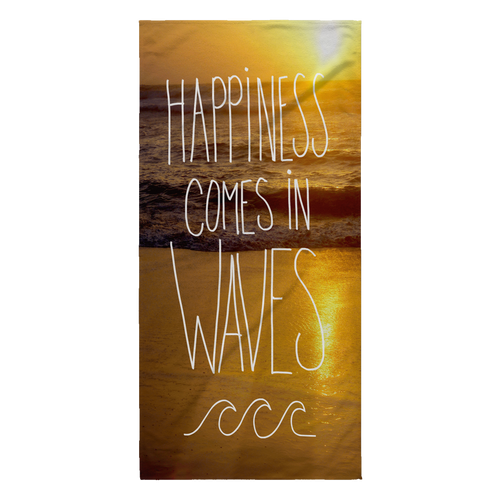 Happiness Comes In Waves Beach Towel