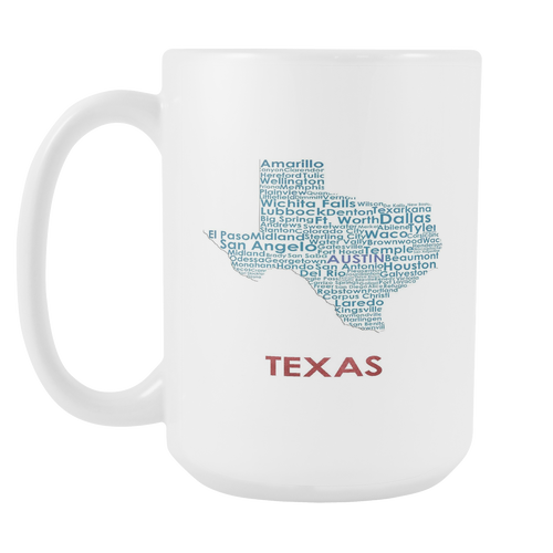 Texas White 15oz Coffee Mug