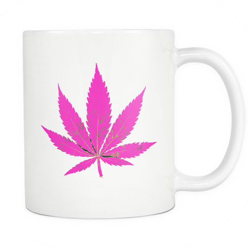 Purple Leaf White 11oz Coffee Mug