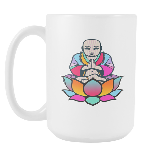 Lotus Buddha White 15oz Coffee Mug