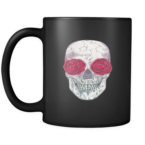 Skull Roses Black 11oz Coffee Mug