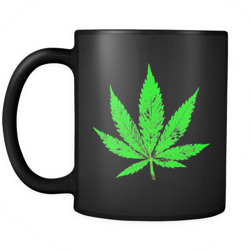 Green Leaf Black 11oz Coffee Mug