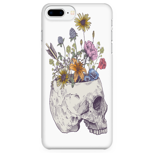 Half Skull Flowers Phone Case