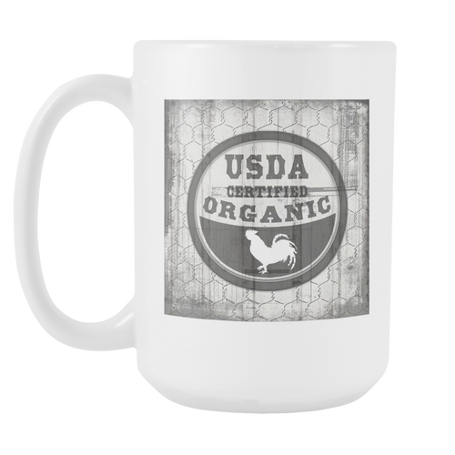 Certified Organic White 15oz Coffee Mug