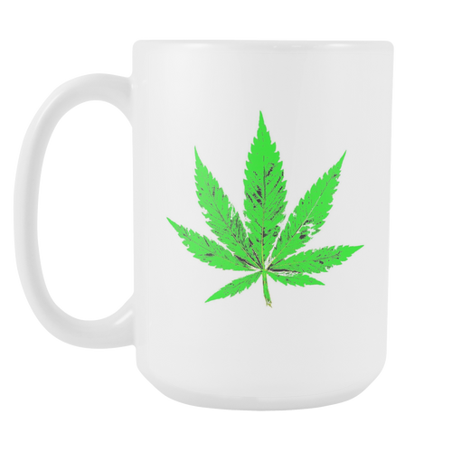Green Leaf White 15oz Coffee Mug