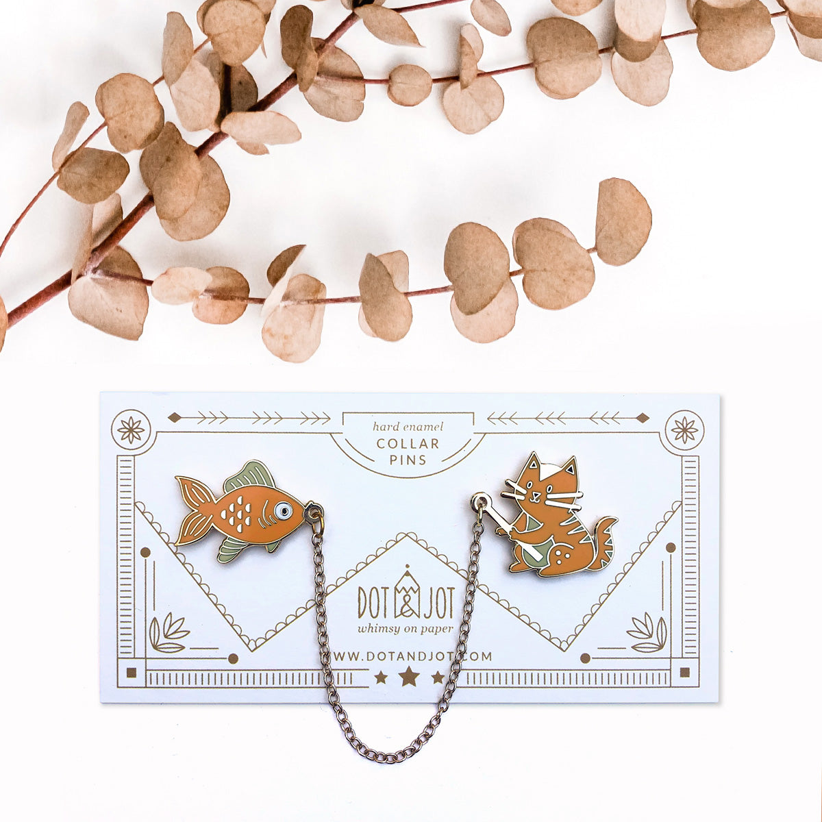 Orange Cat Fish -  Collar Pins