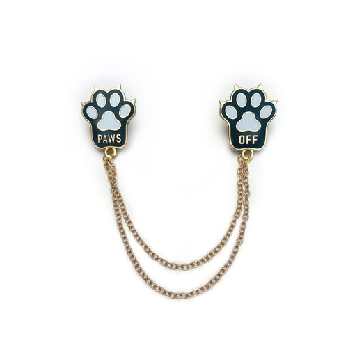 Black Cat Paws Off- Collar Pins
