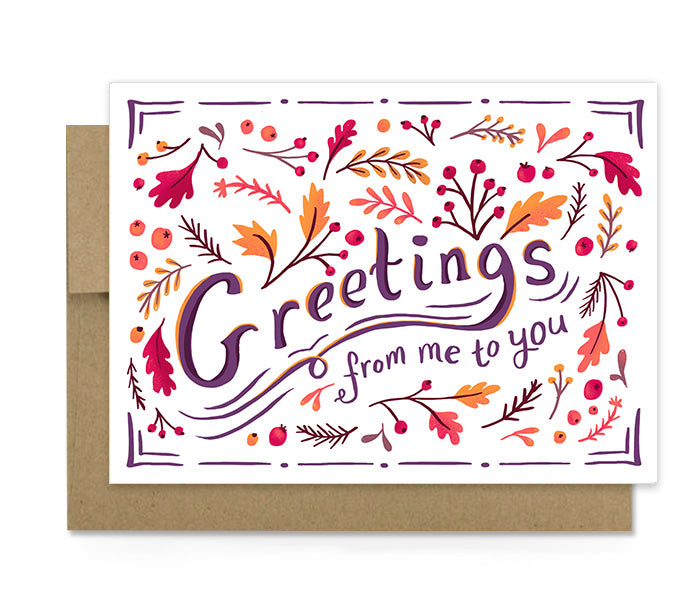 Seasons Greetings Autumn Card Dot Jot
