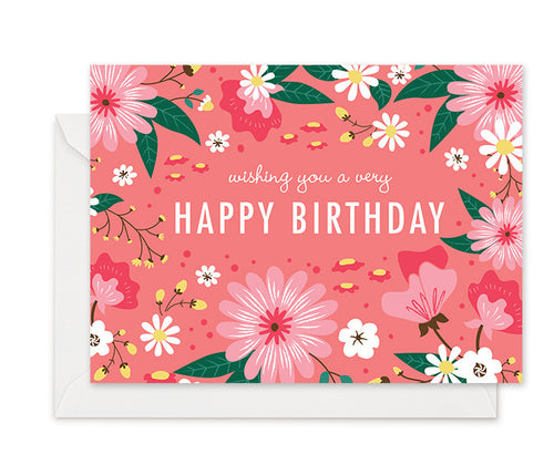 Pink Flora - Birthday Card