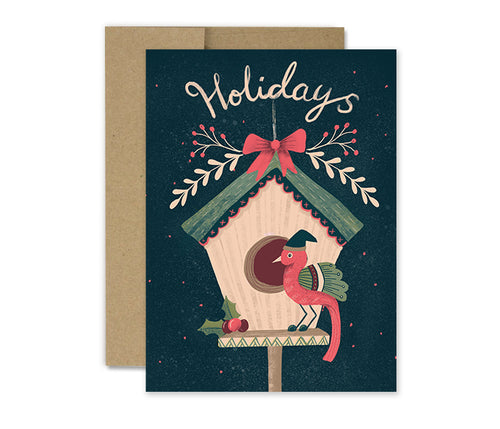 Partridge Birdhouse - Holiday Card