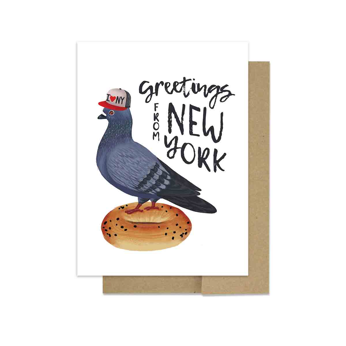 Pigeon on a Bagel - Greeting Card