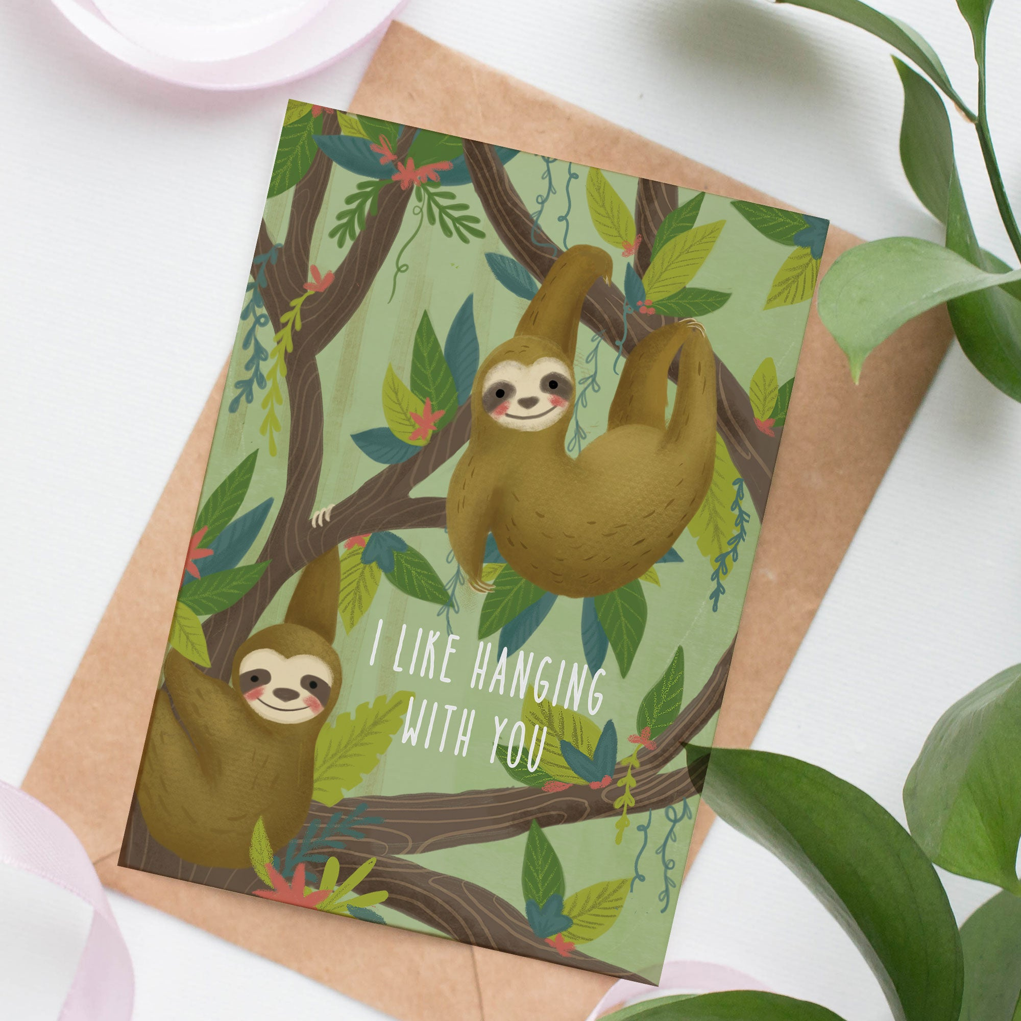 Hanging Sloths - Greeting Card