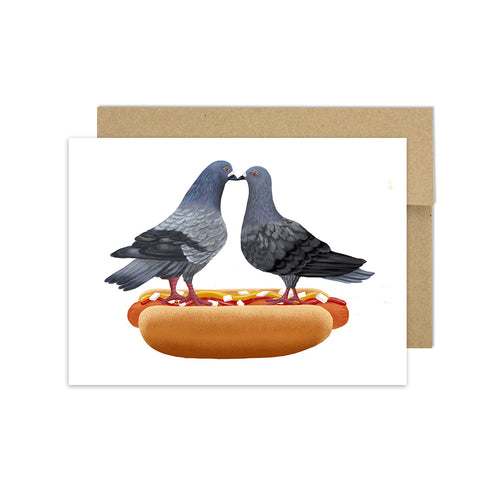 Kissing Pigeons on Hot Dog - Greeting Card