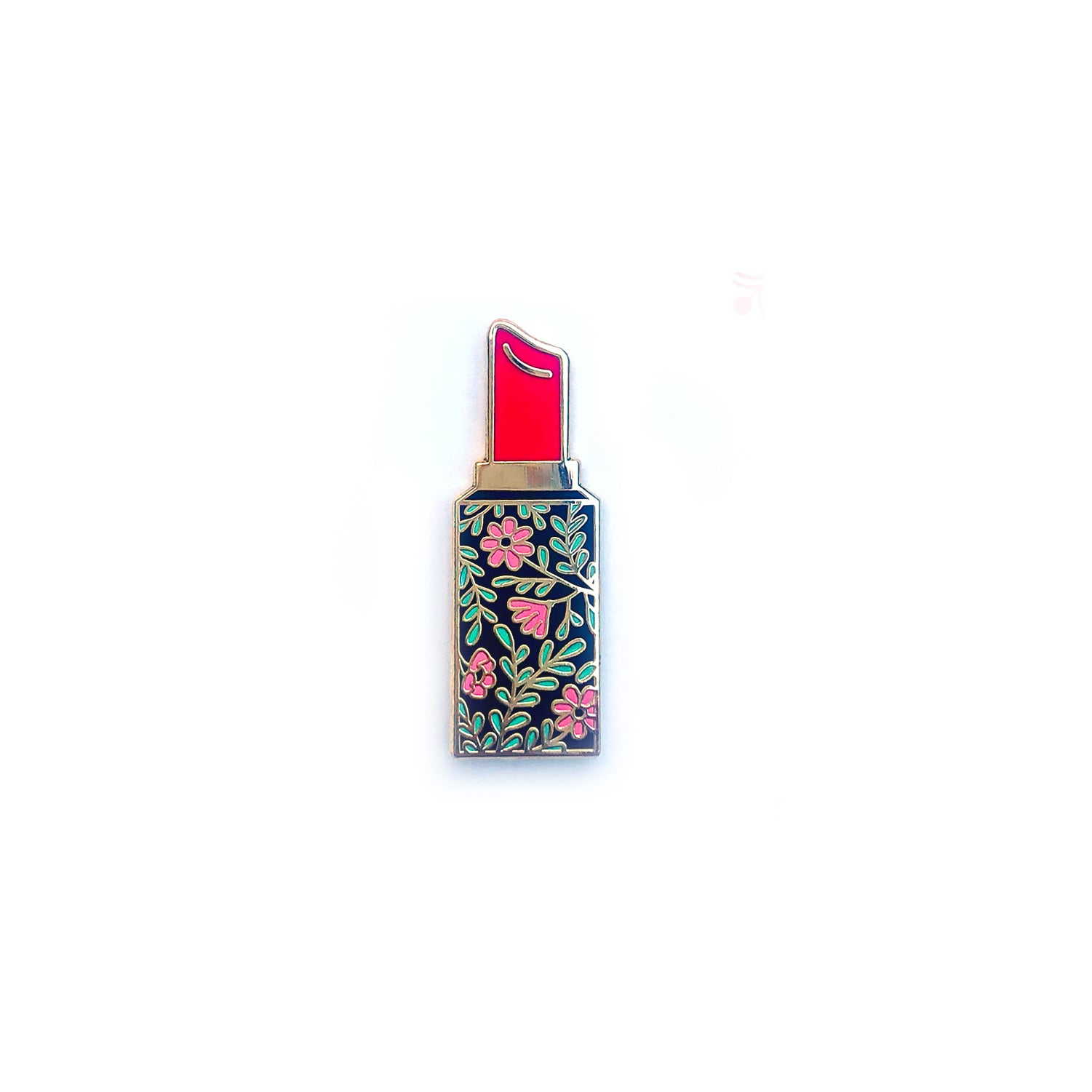 Floral Lipstick (red) - Enamel Pins