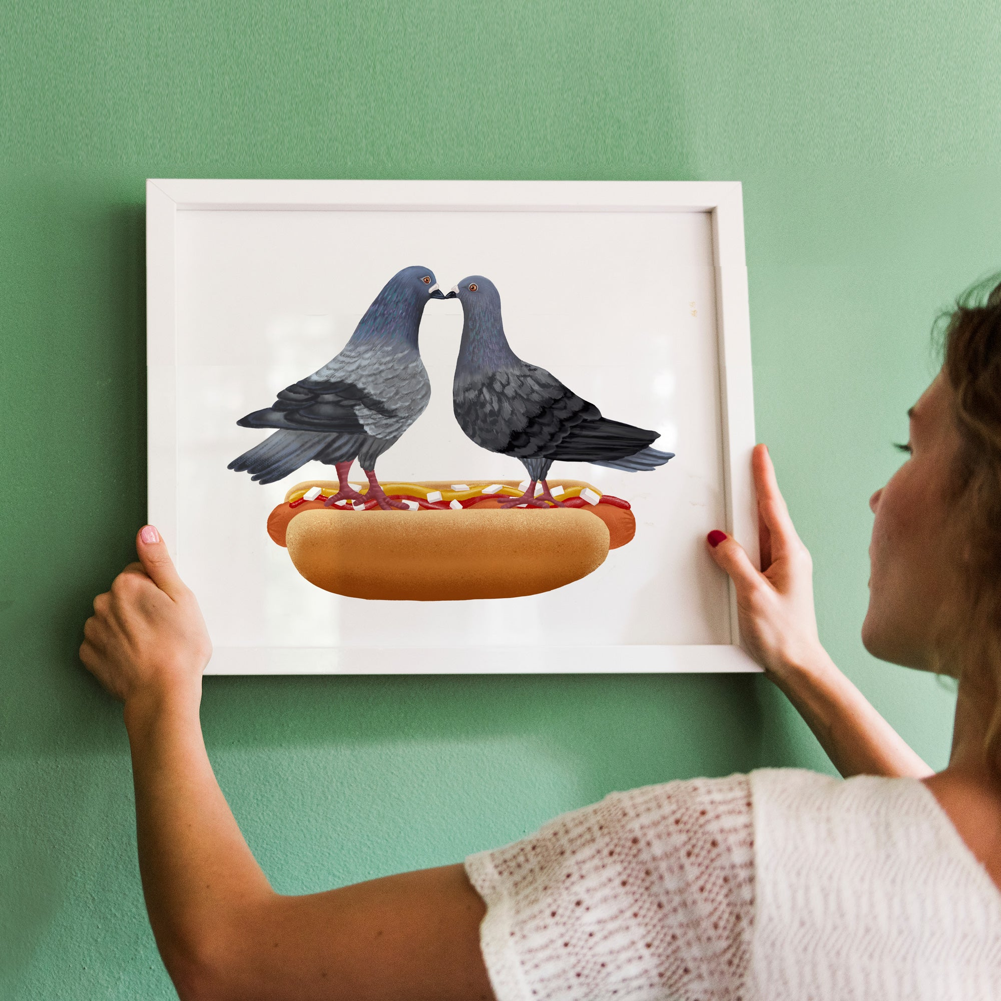 Hot Dog Pigeons Kissing - Art Print