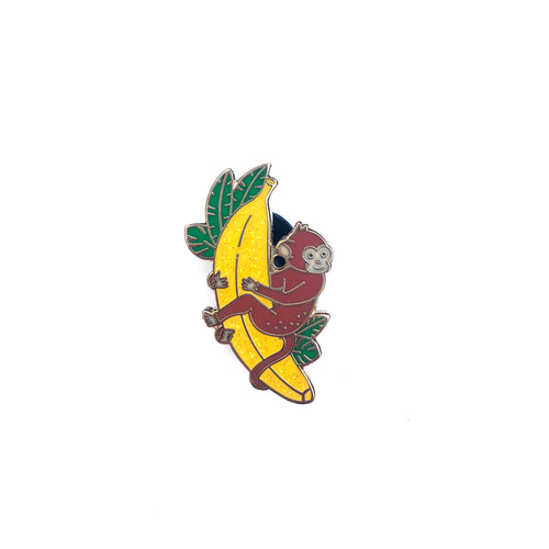 Monkey on Banana - Glitter Enamel Pin