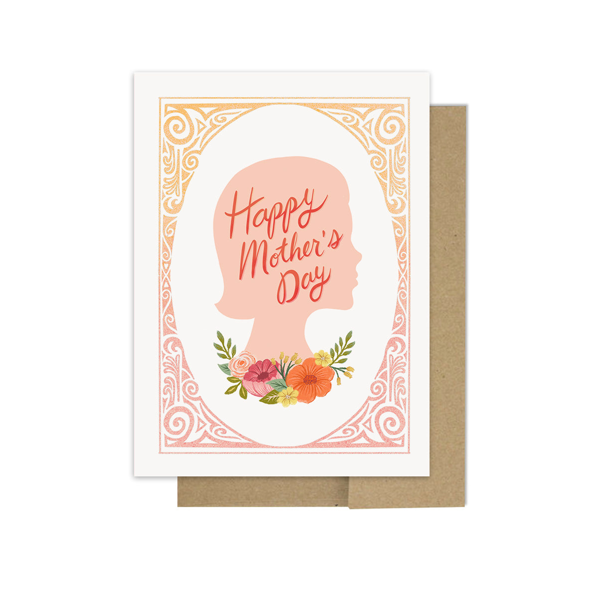 Floral Framed Mom Portrait - Greeting Card