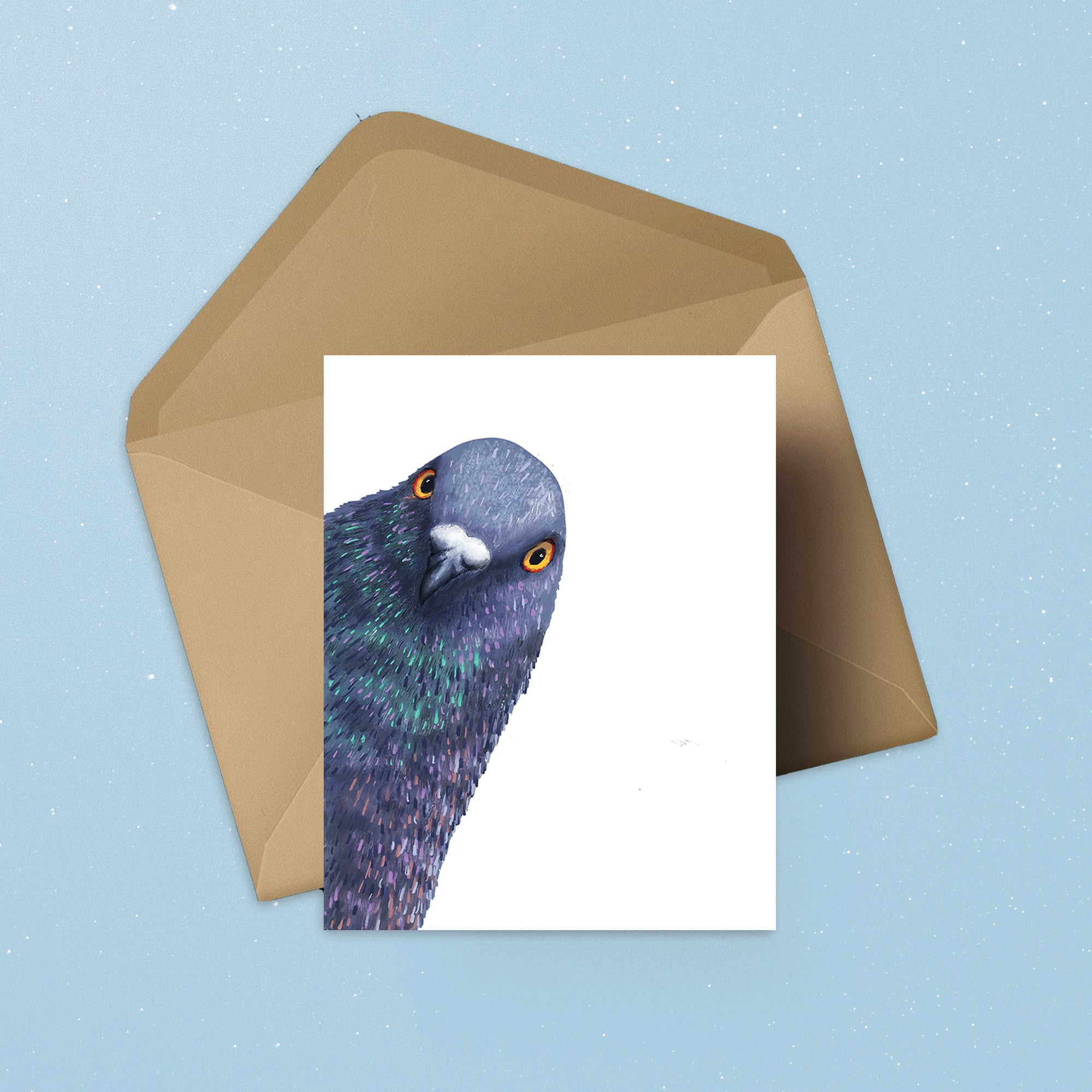 Peeking Pigeon Bird - Greeting Card