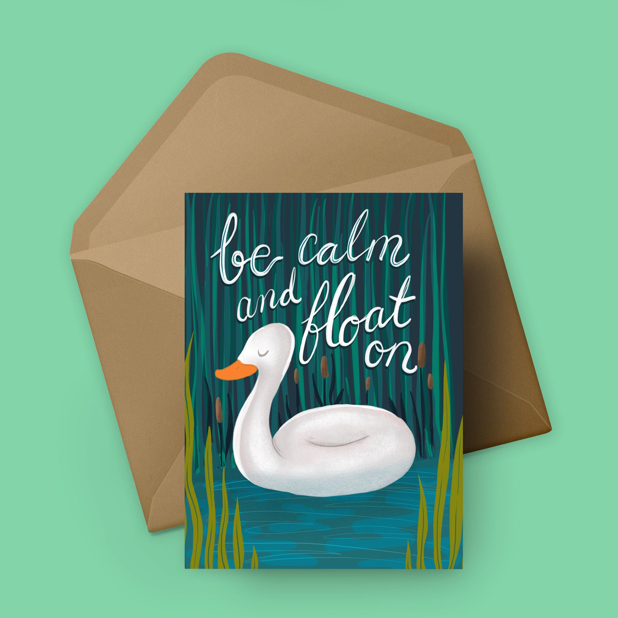 Float On Swan - Greeting Card